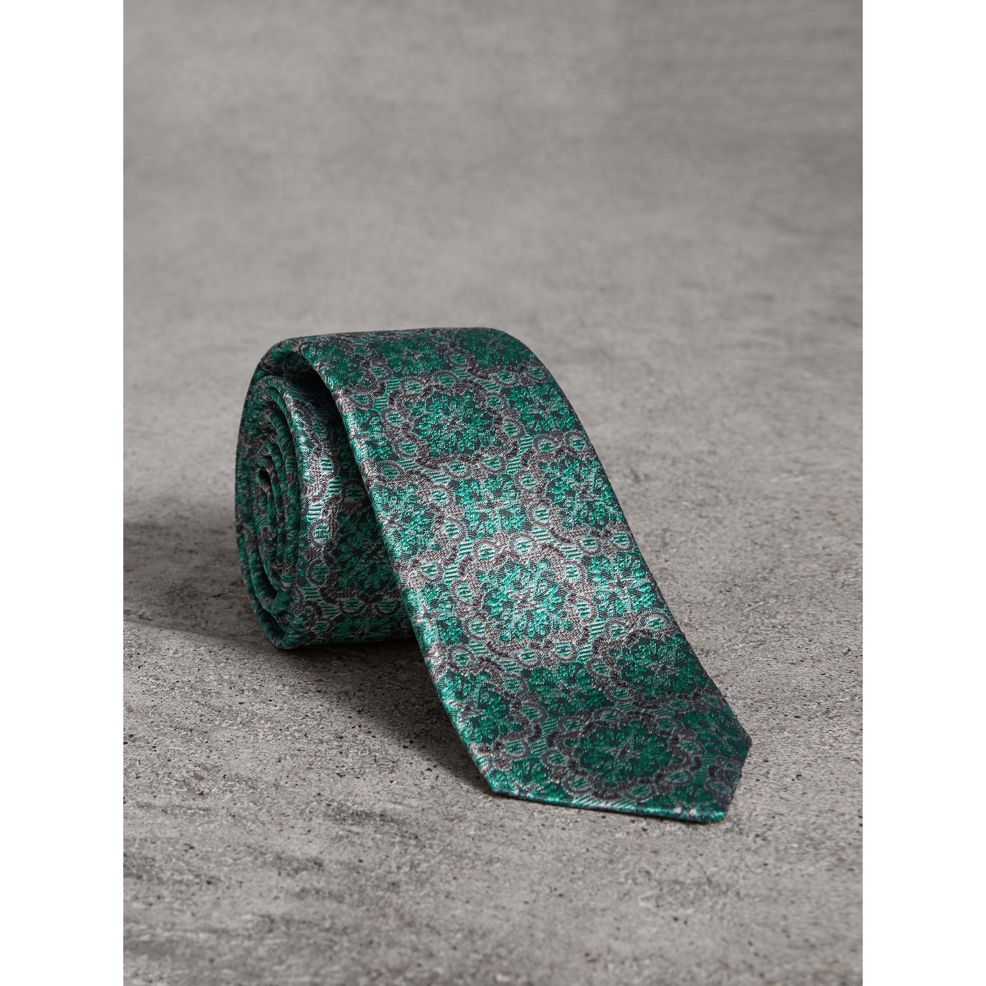 Slim Cut Silk Jacquard Tie in Turquoise - Men | Burberry - gallery image 1