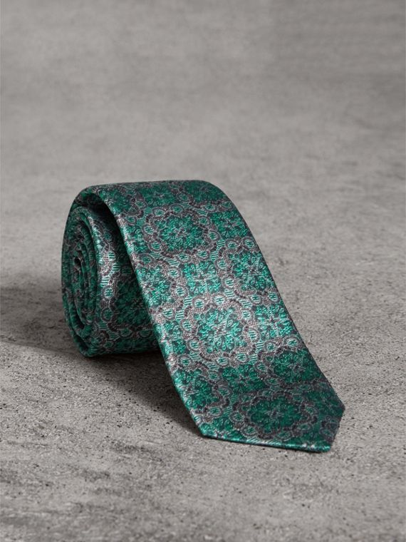 Slim Cut Silk Jacquard Tie in Turquoise