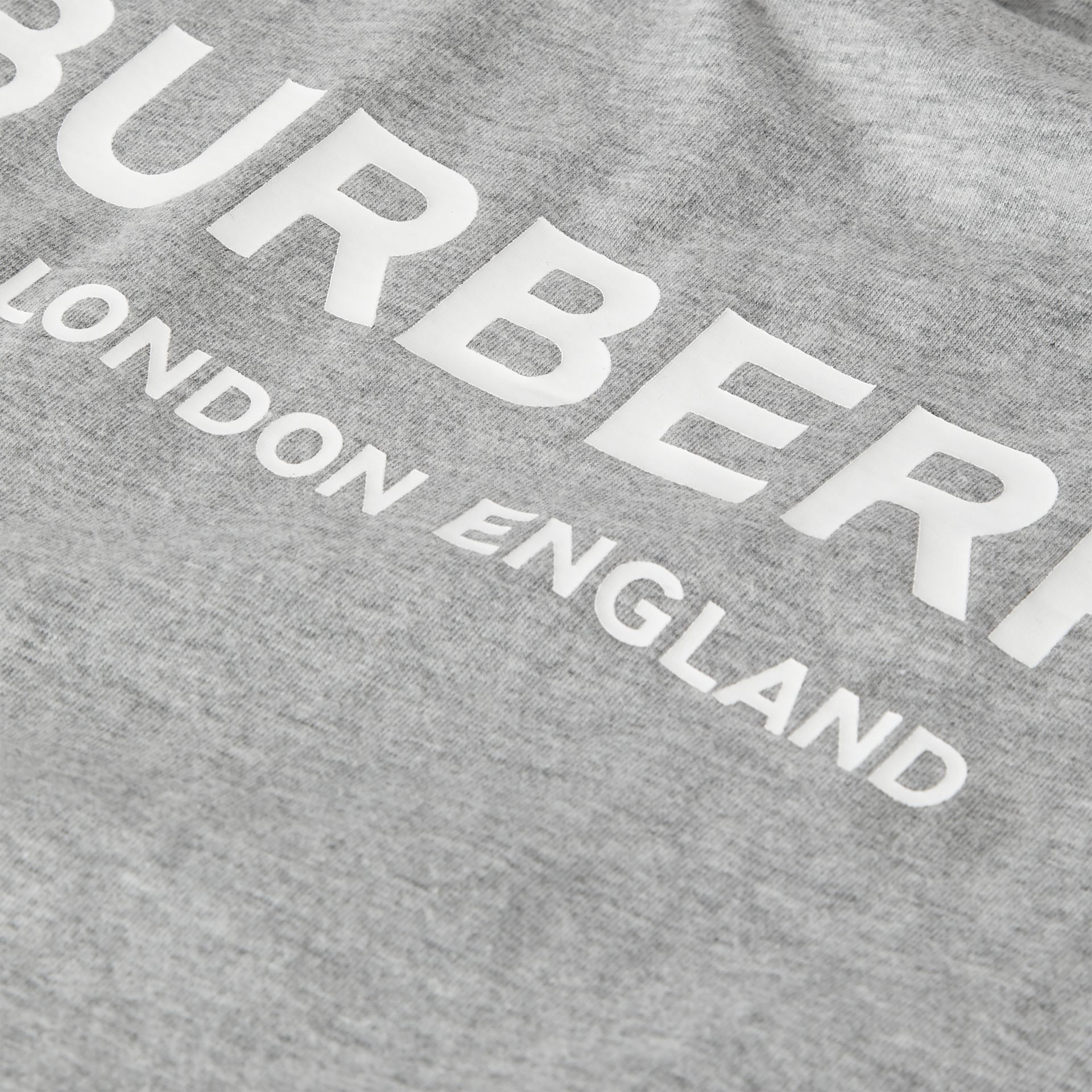 Logo Print Cotton T-shirt in Grey Melange - Children | Burberry Canada - gallery image 1