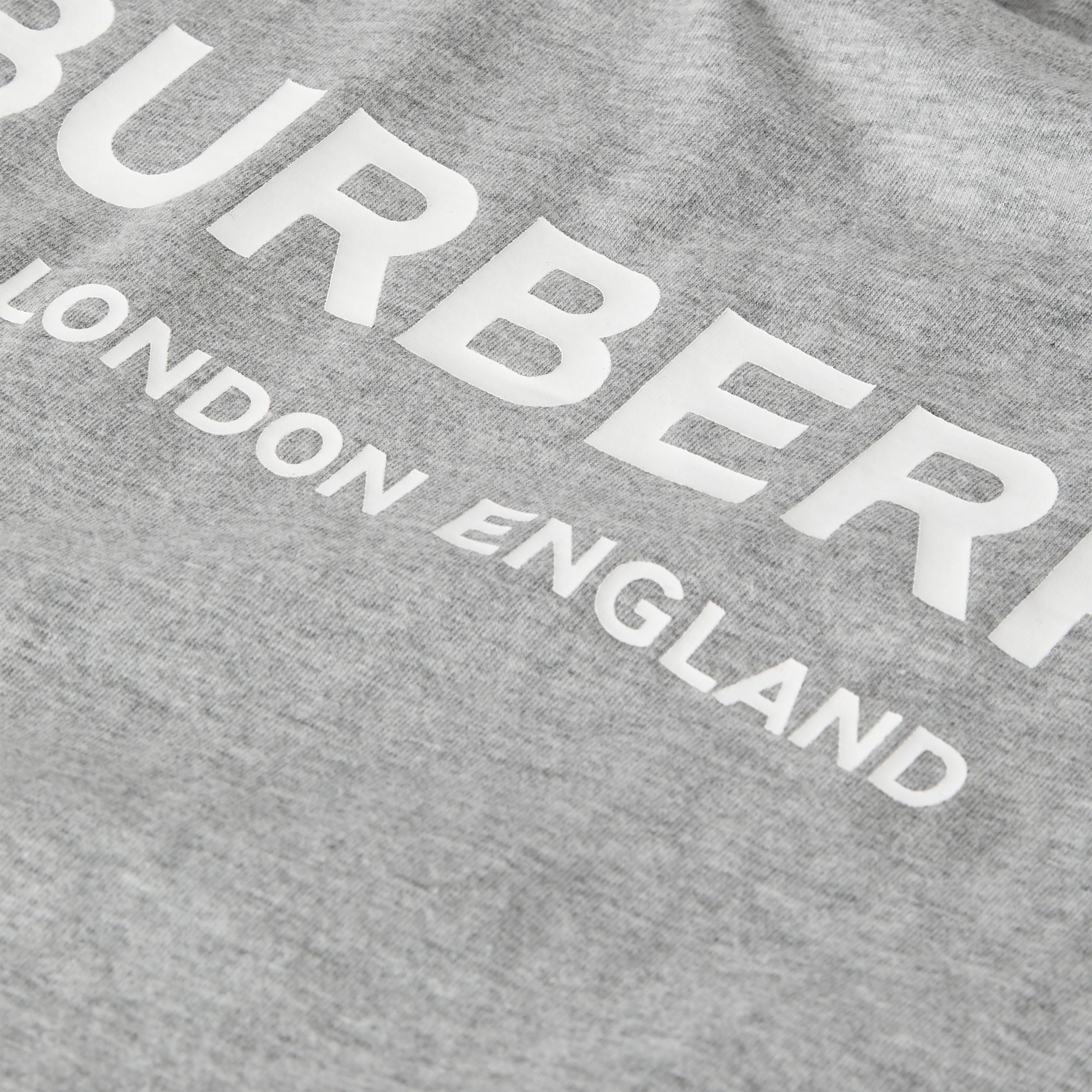 Logo Print Cotton T-shirt in Grey Melange - Children | Burberry - 2