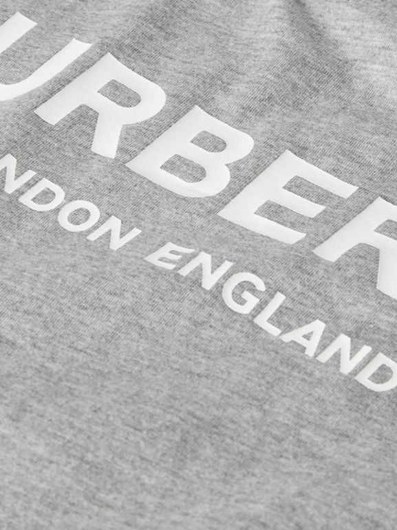Logo Print Cotton T-shirt in Grey Melange - Children | Burberry Singapore - cell image 1