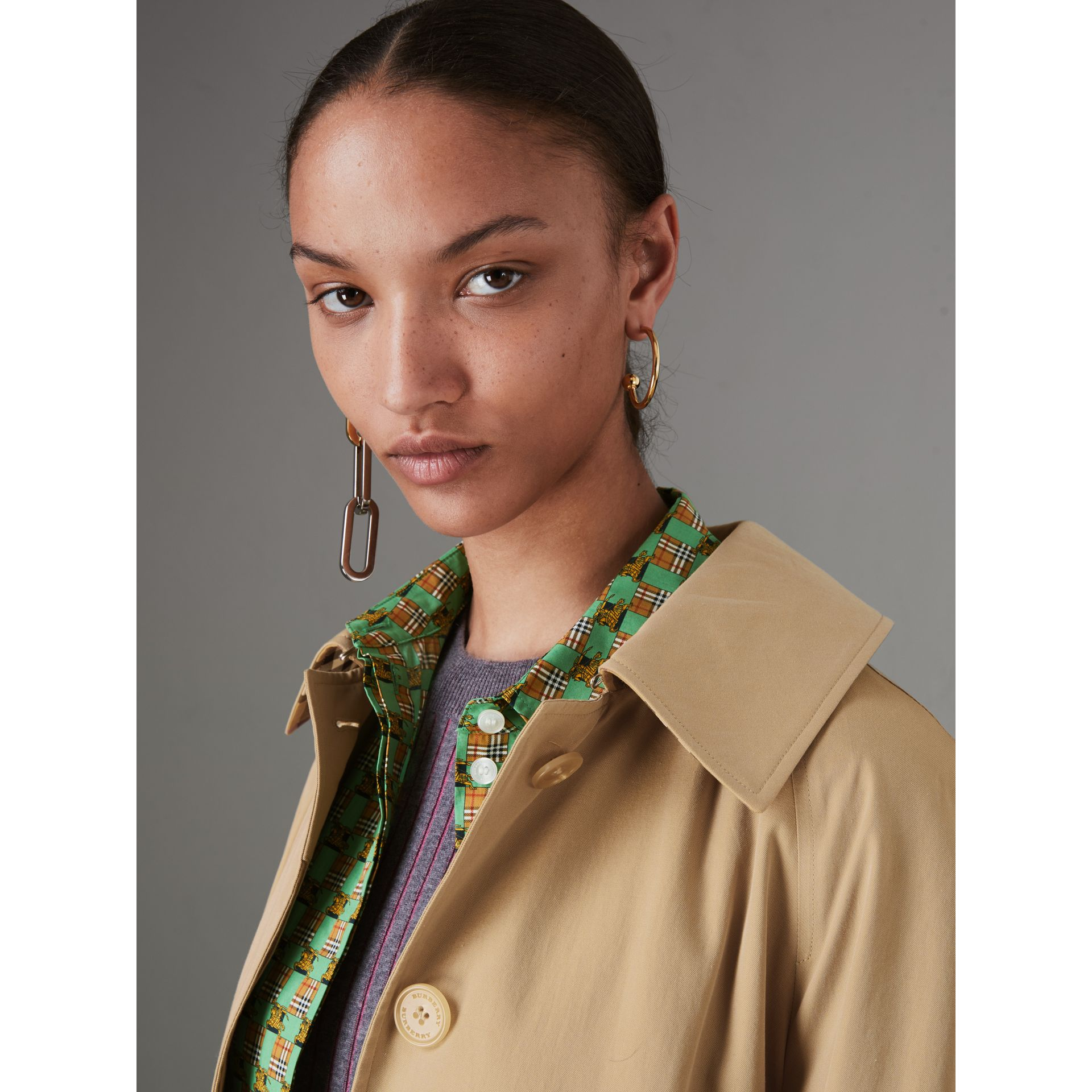 Detachable Hood Tropical Gabardine Car Coat in Honey - Women | Burberry - gallery image 4
