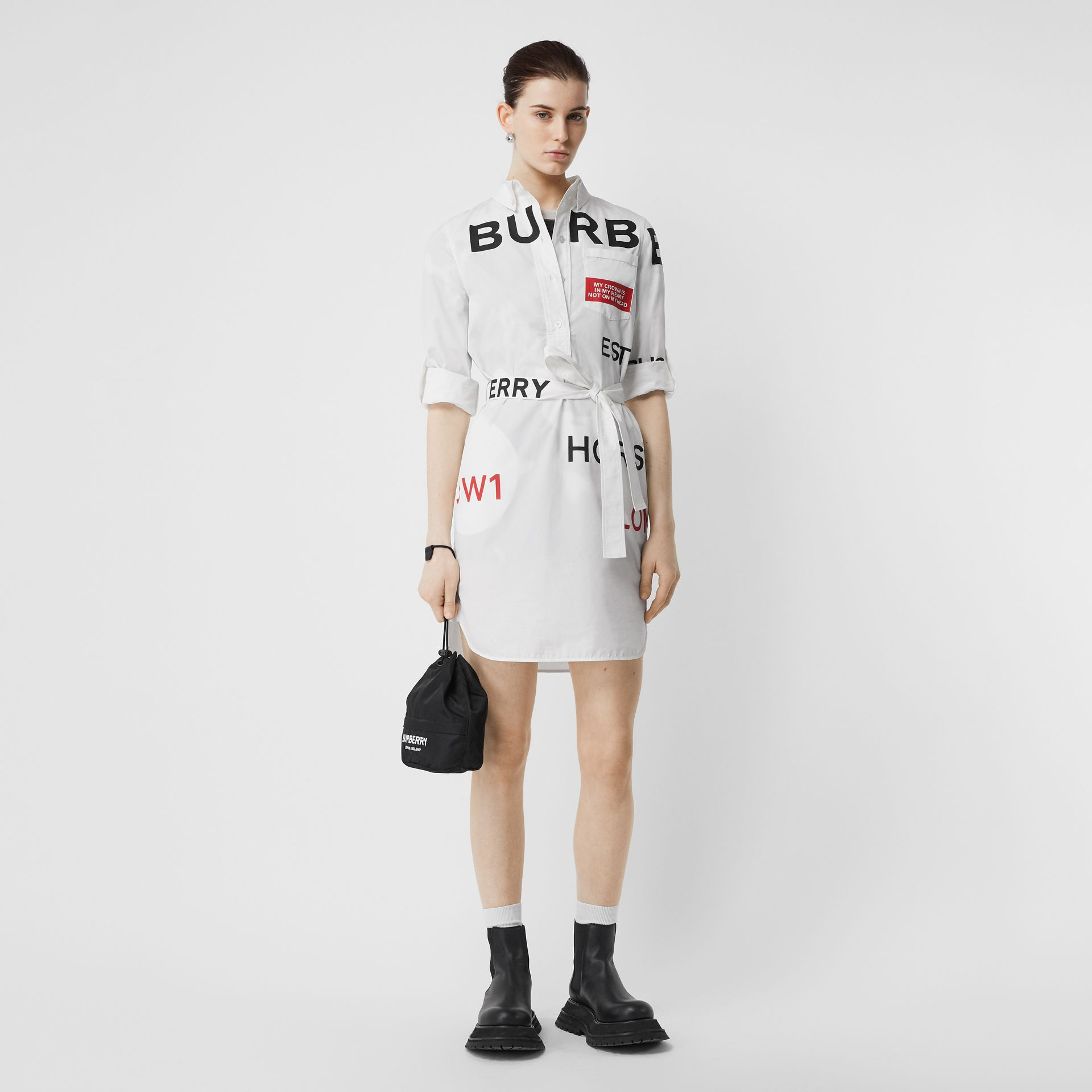 Horseferry Print Cotton Tie-waist Shirt Dress in White | Burberry - gallery image 0