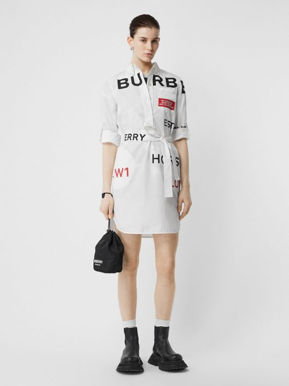 Horseferry Print Cotton Tie-waist Shirt Dress in White