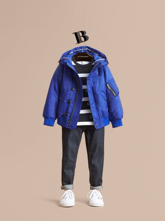 Hooded Lightweight Bomber Jacket in Brilliant Blue
