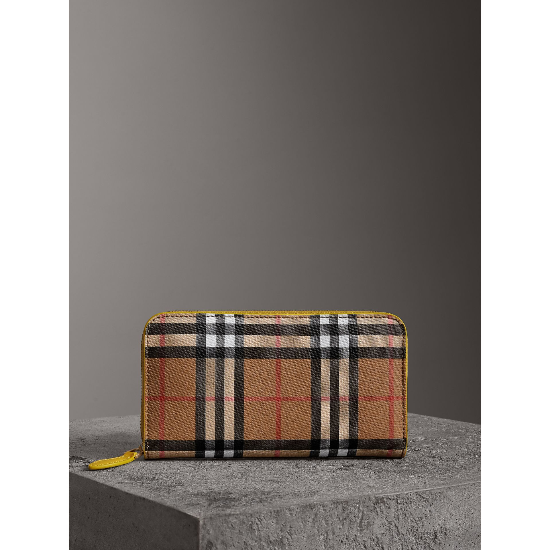 Vintage Check and Leather Ziparound Wallet in Bright Larch Yellow - Women | Burberry Canada - gallery image 4