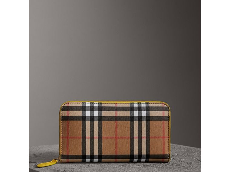 Vintage Check and Leather Ziparound Wallet in Bright Larch Yellow - Women | Burberry - cell image 4