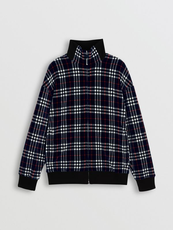 Check Velvet Bomber Jacket in Navy | Burberry - cell image 3