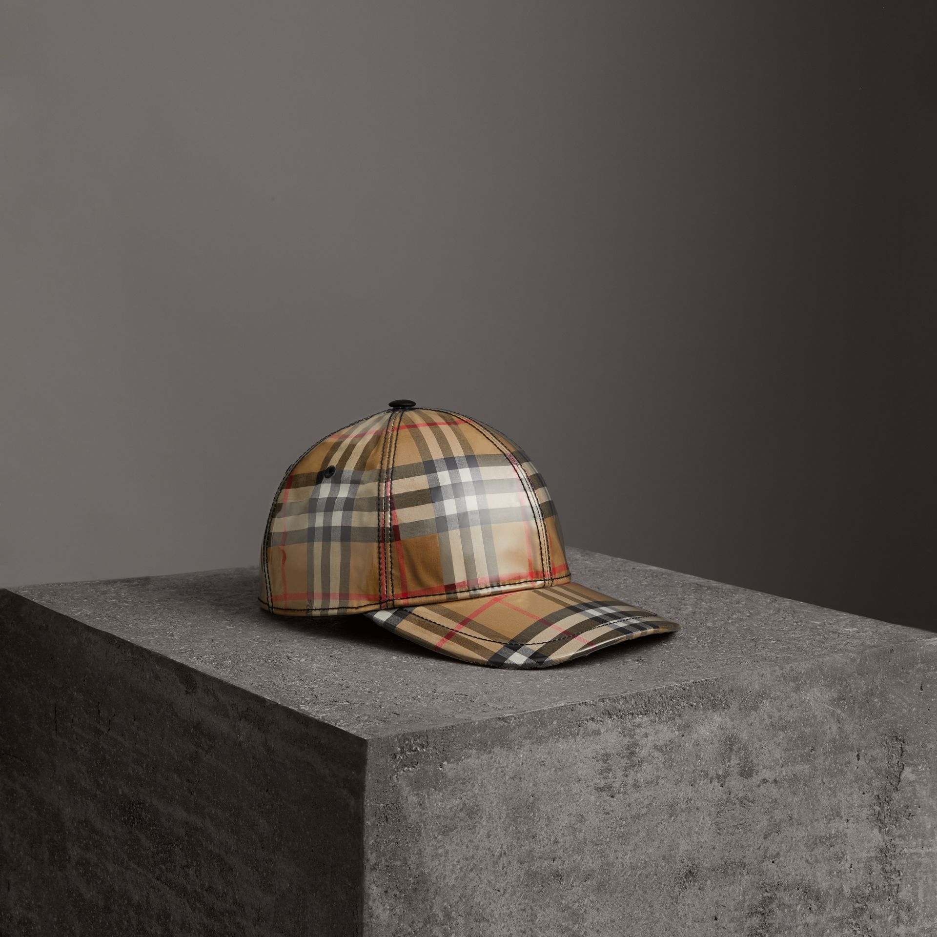 Laminated Vintage Check Baseball Cap in Antique Yellow | Burberry Australia - gallery image 0