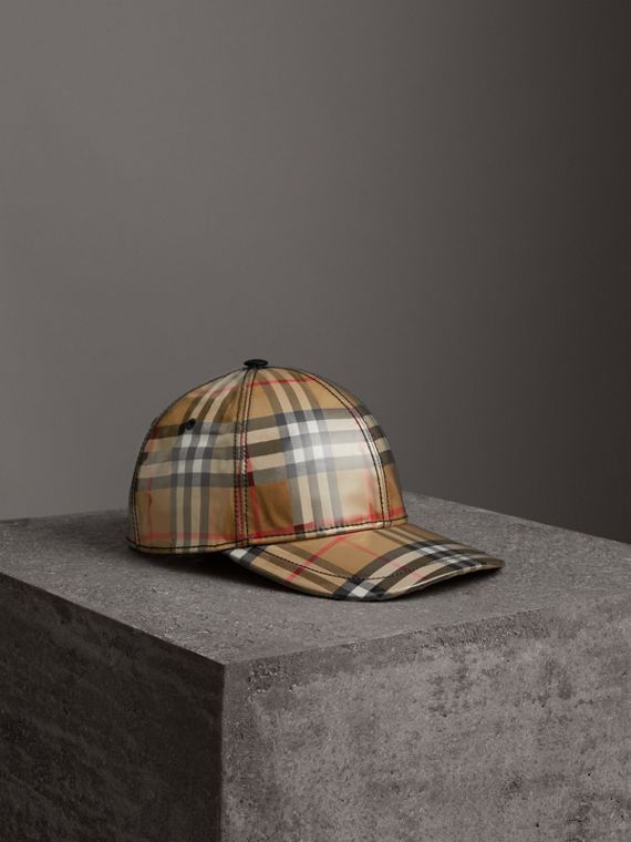 Laminated Vintage Check Baseball Cap in Antique Yellow