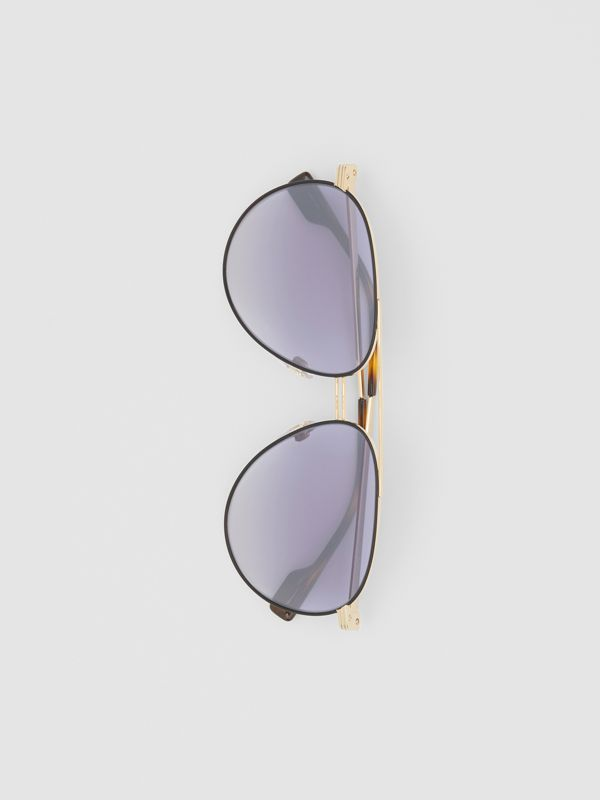 Top Bar Detail Pilot Sunglasses in Gold - Men | Burberry - cell image 3