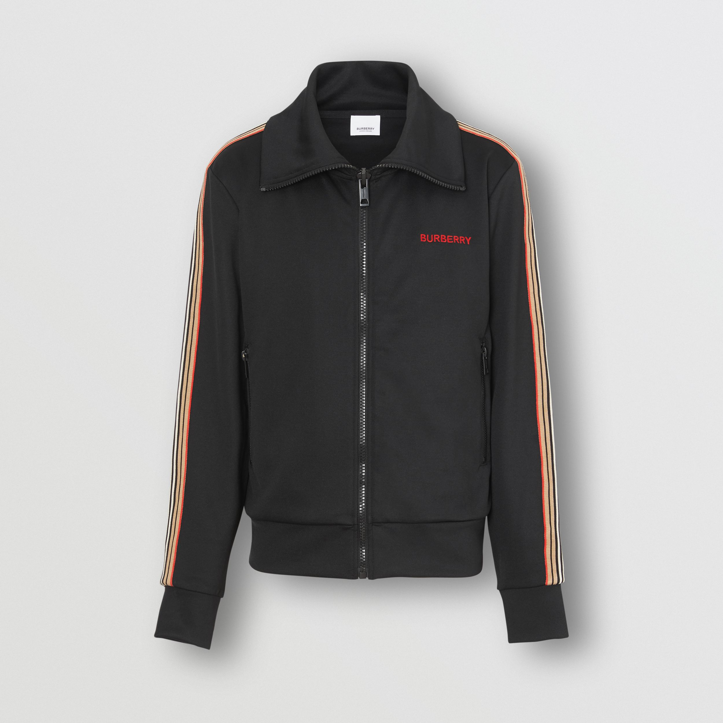 Icon Stripe Detail Funnel Neck Track Top in Black - Men | Burberry - 4