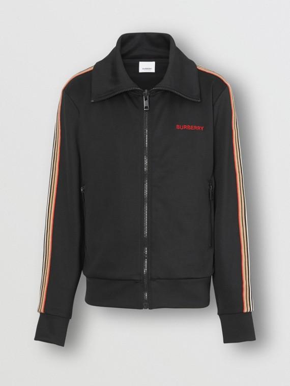 Trainingsjacke mit Trichterkragen und Streifendetail (Schwarz)