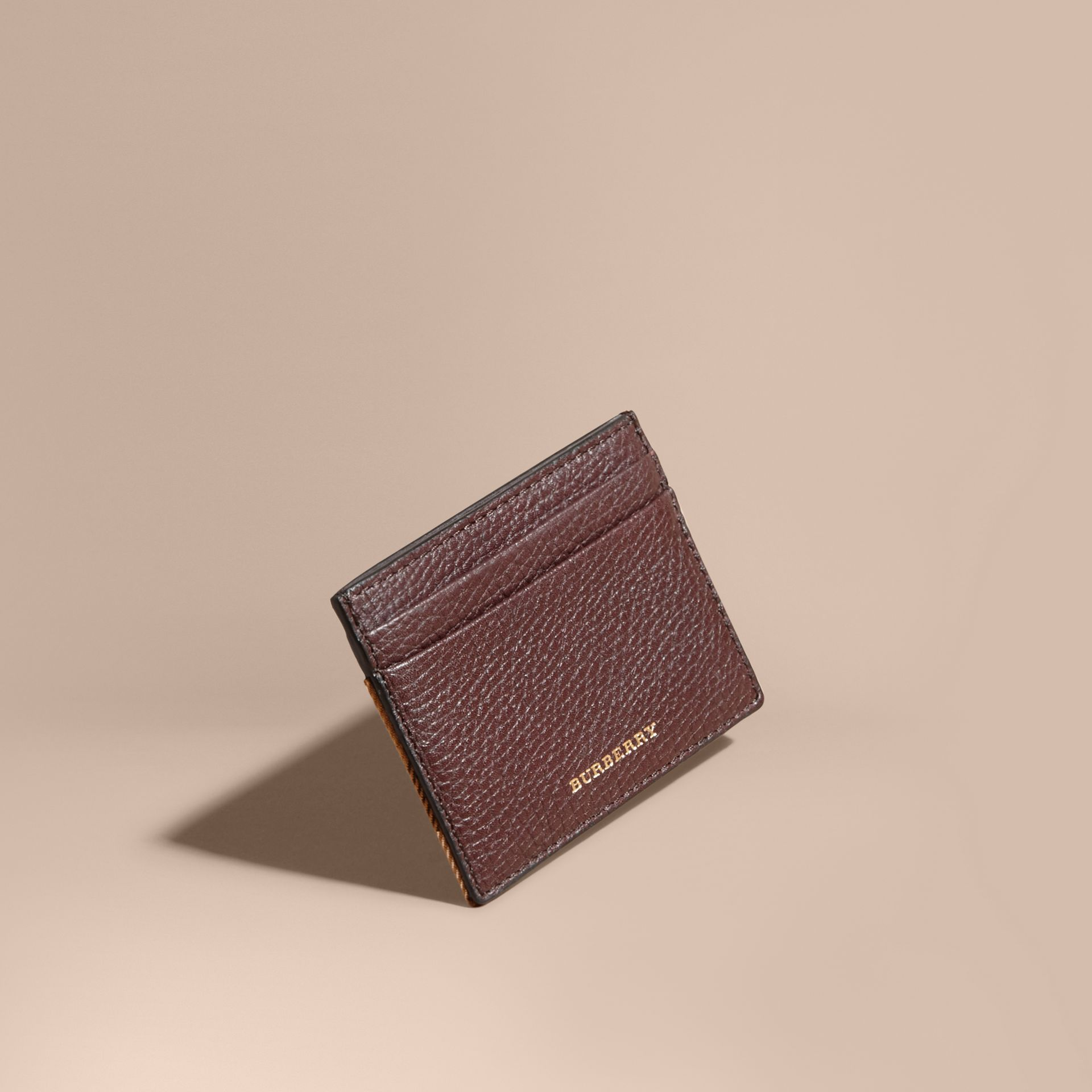 House Check and Grainy Leather Card Case in Wine - gallery image 1