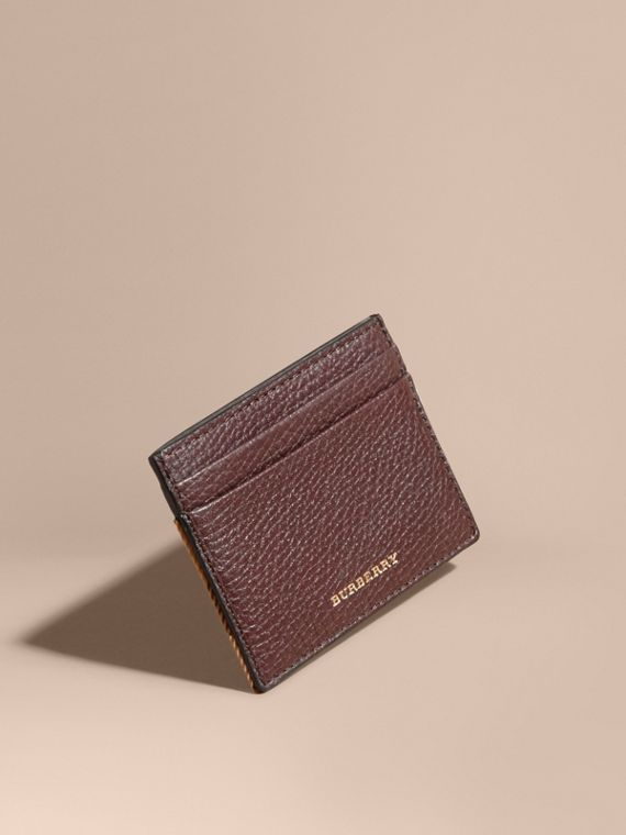 House Check and Grainy Leather Card Case in Wine | Burberry