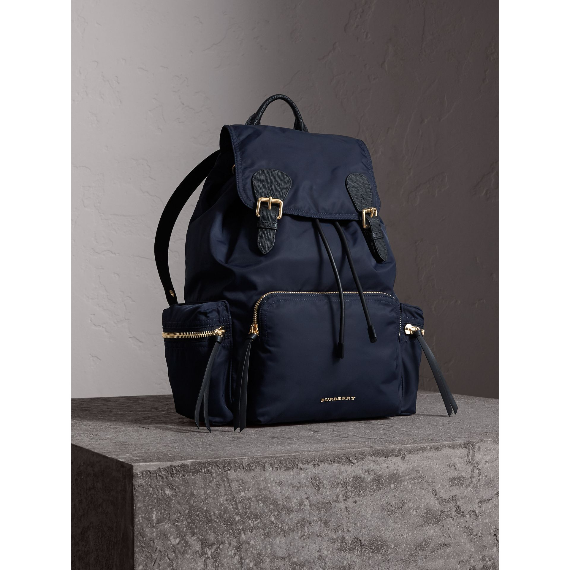The Large Rucksack in Technical Nylon and Leather in Ink Blue - Women | Burberry Canada - gallery image 8