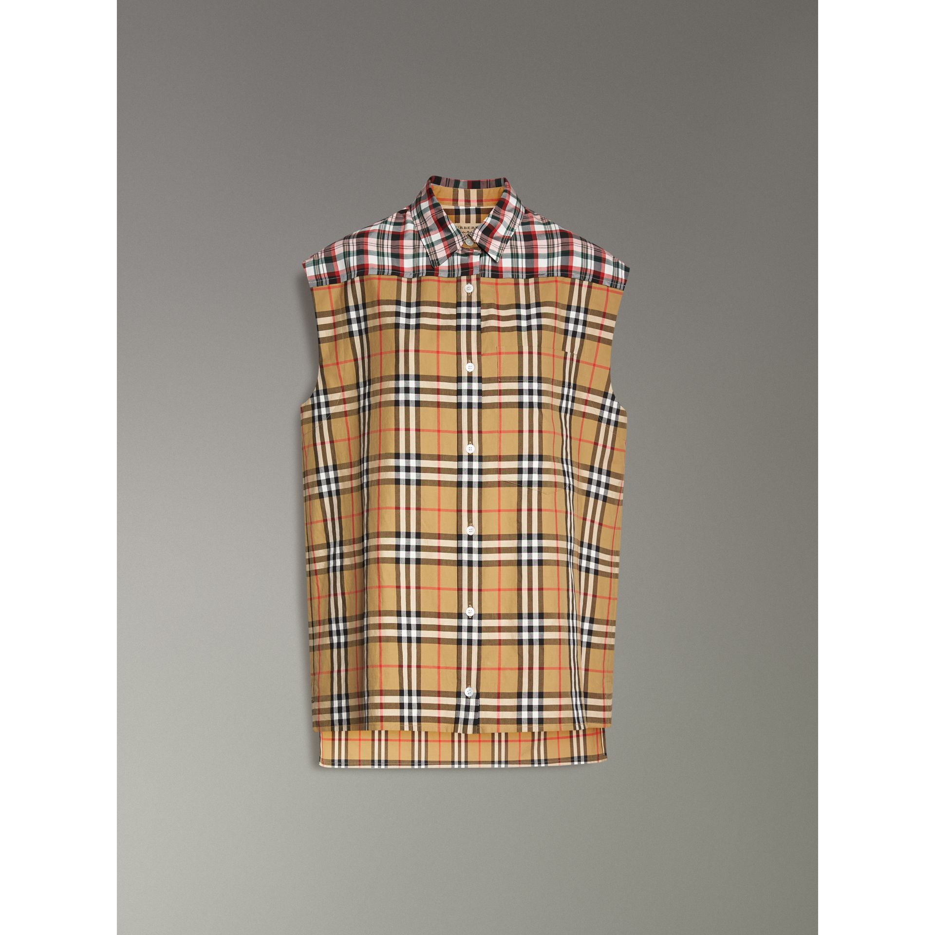 Contrast Check Sleeveless Shirt in Antique Yellow - Women | Burberry - gallery image 3
