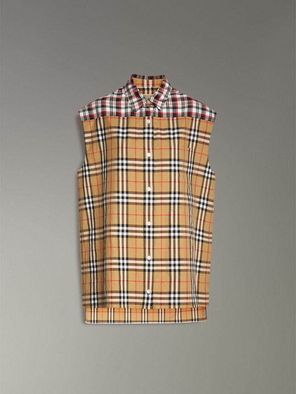 Contrast Check Sleeveless Shirt in Antique Yellow - Women | Burberry - cell image 3