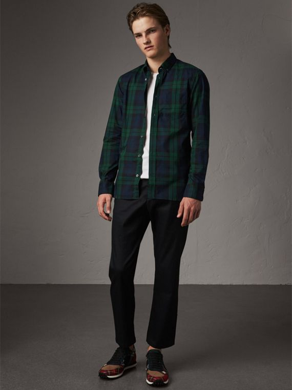 Check Cotton Shirt in Navy - Men | Burberry Australia - cell image 3