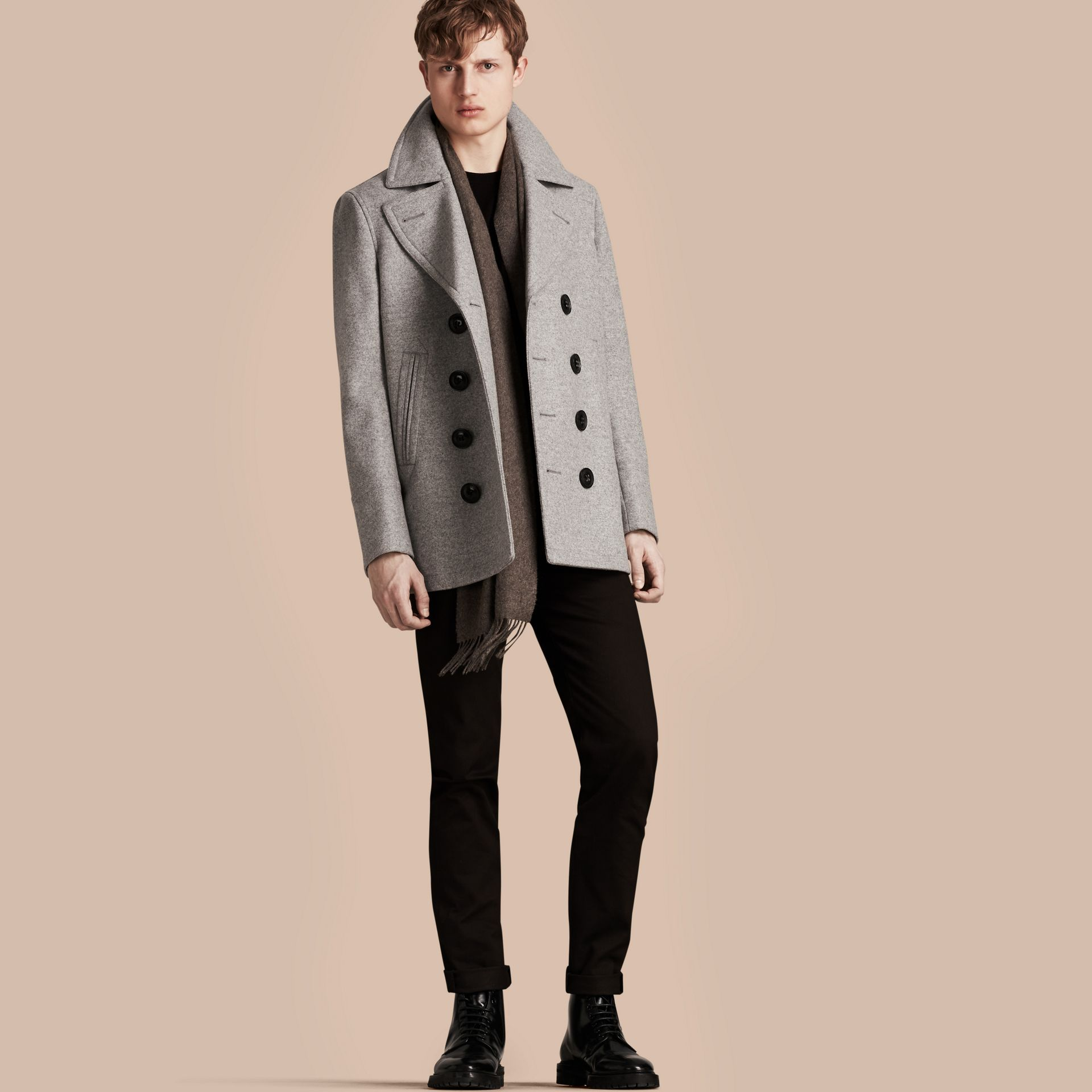 Wool Cashmere Pea Coat in Pale Grey Melange - gallery image 1