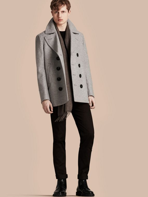 Wool Cashmere Pea Coat in Pale Grey Melange