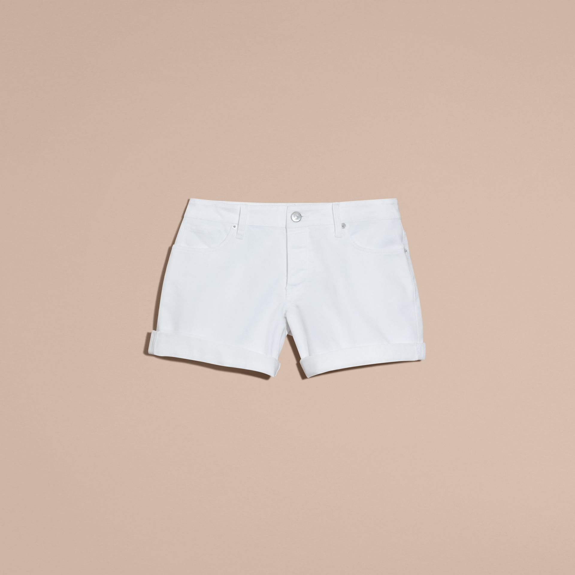 White Low-Rise Japanese Denim Shorts - gallery image 4