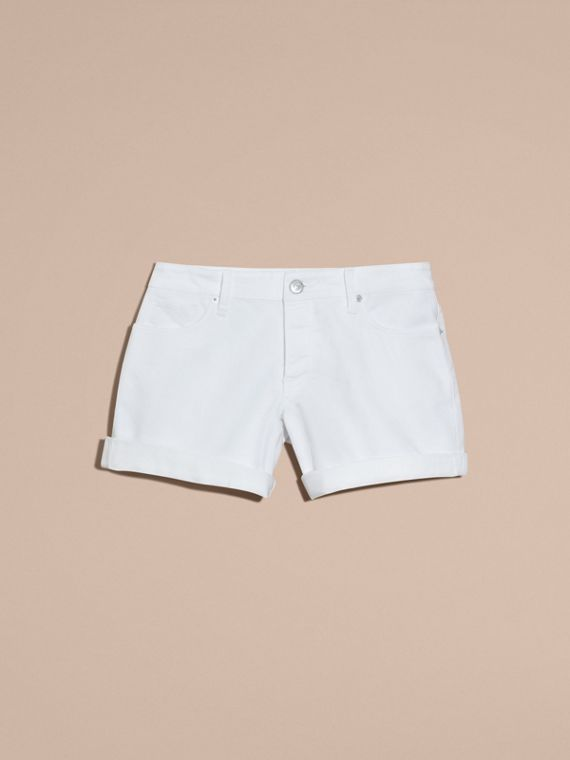 White Low-Rise Japanese Denim Shorts - cell image 3