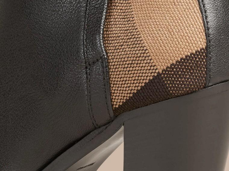 Preto Botas de cano curto de couro com padrão xadrez - cell image 4
