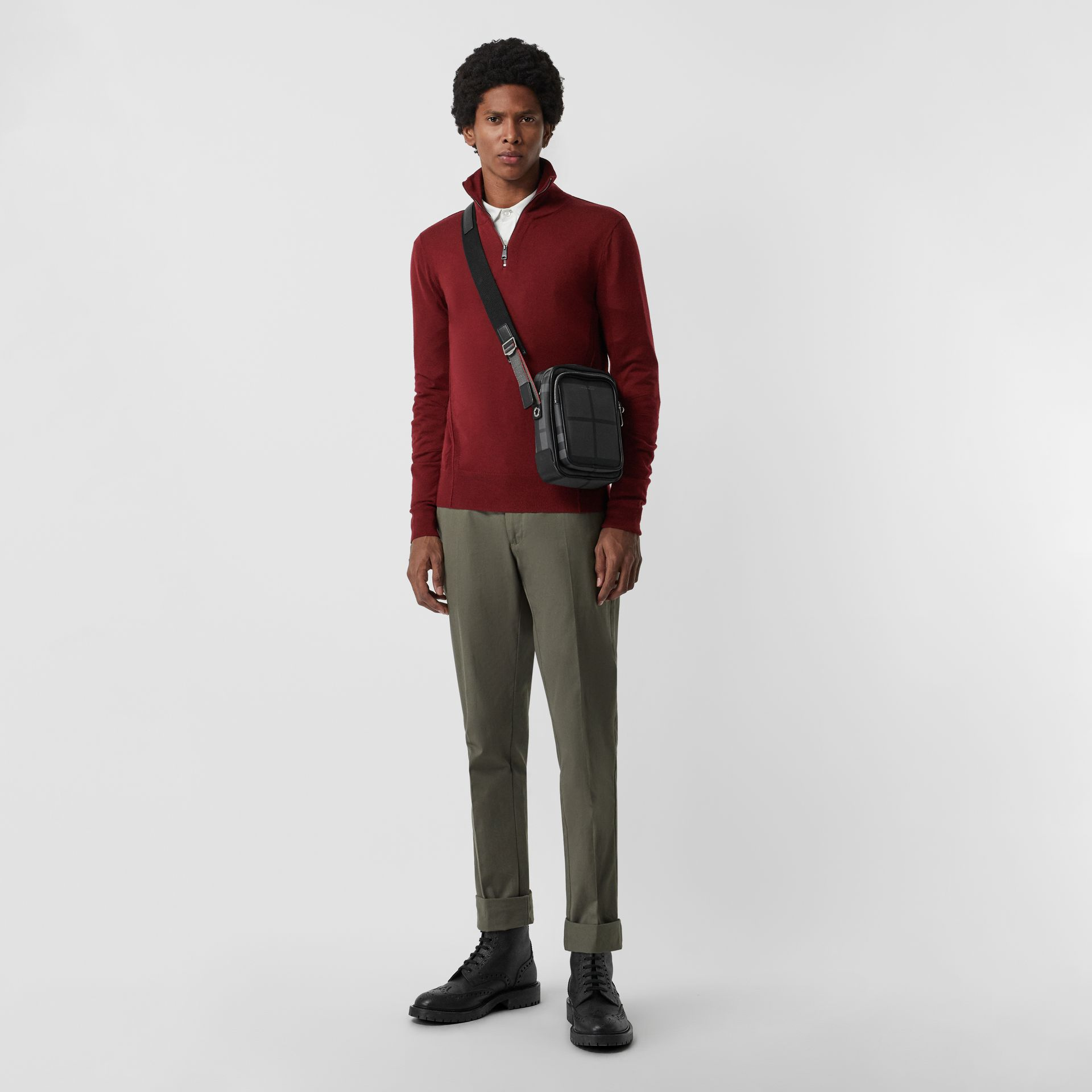 Merino Wool Half-zip Sweater in Burgundy - Men | Burberry Australia - gallery image 0