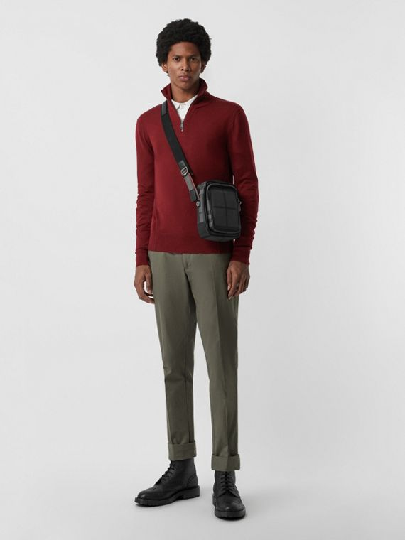 Merino Wool Half-zip Sweater in Burgundy