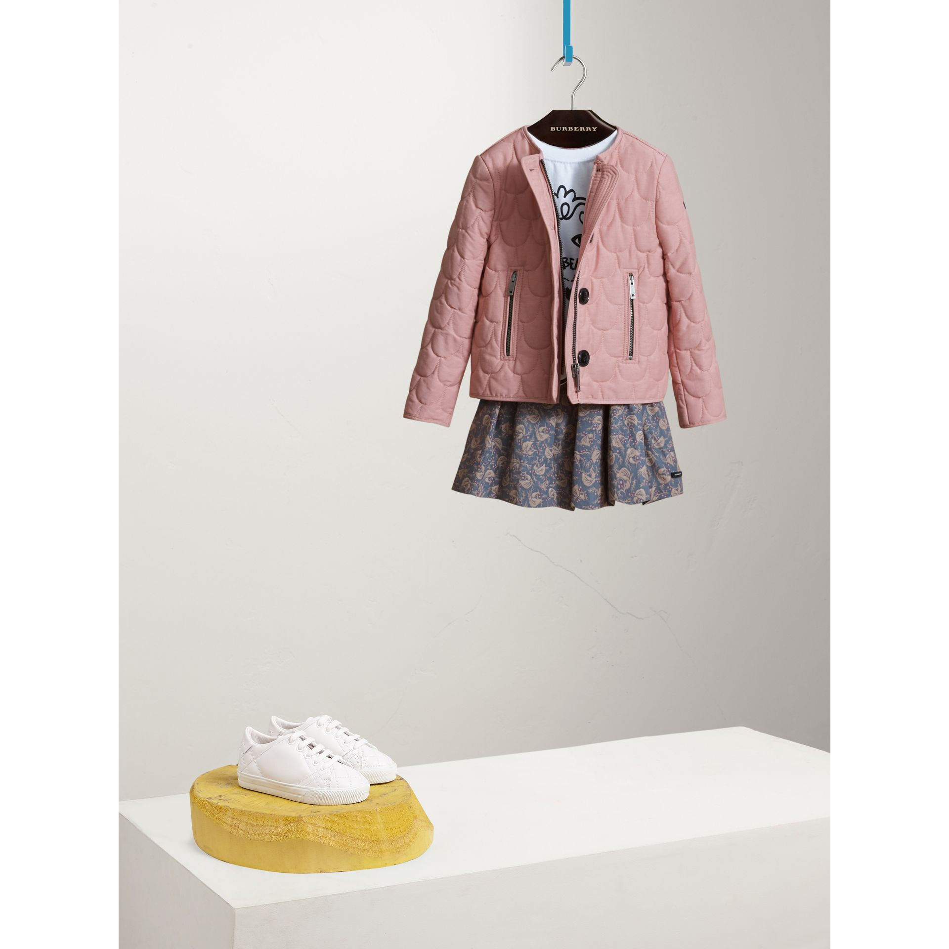 Collarless Scallop-quilted Jacket in Pale Rose - Girl | Burberry - gallery image 0