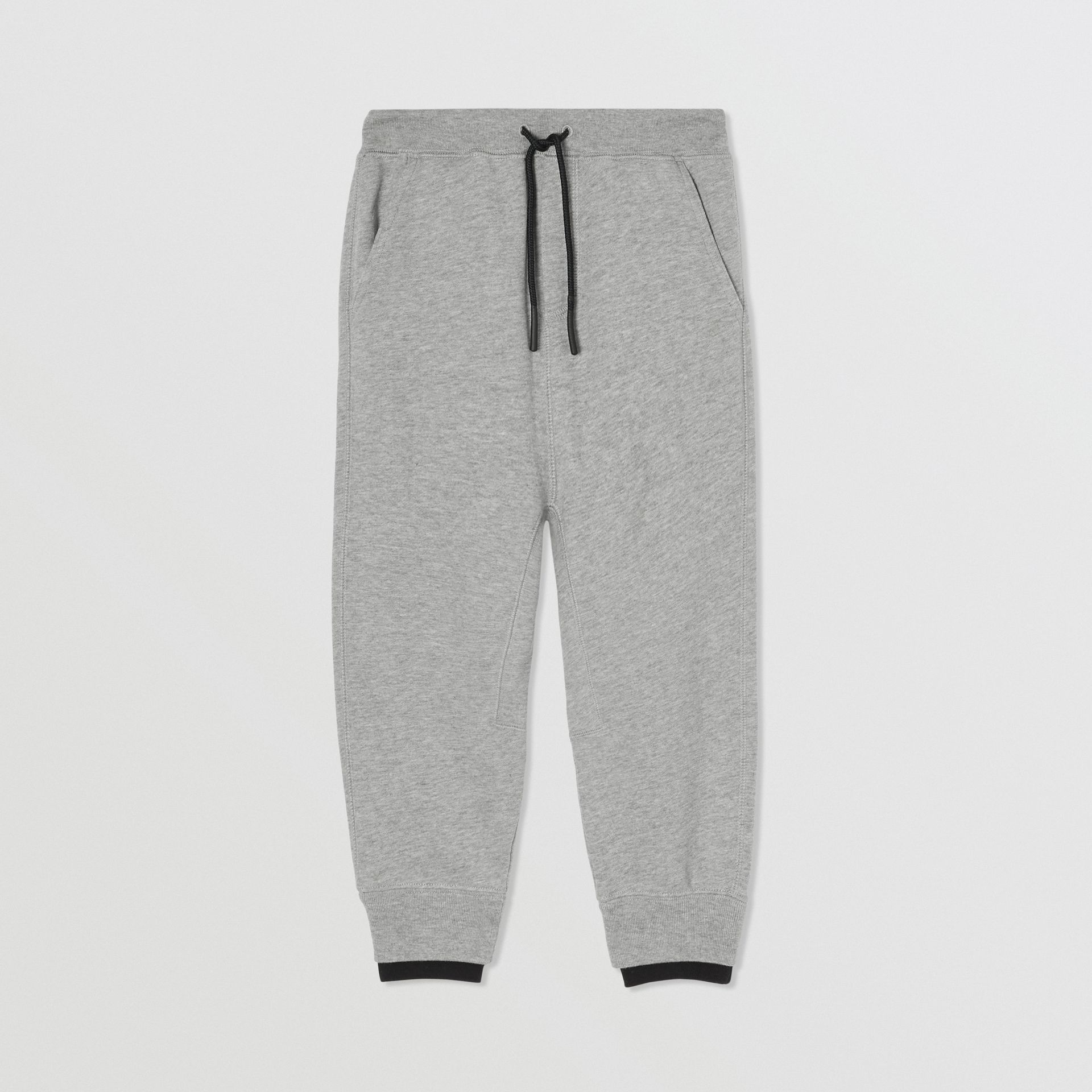 Logo Detail Cotton Trackpants in Grey Melange | Burberry - gallery image 0