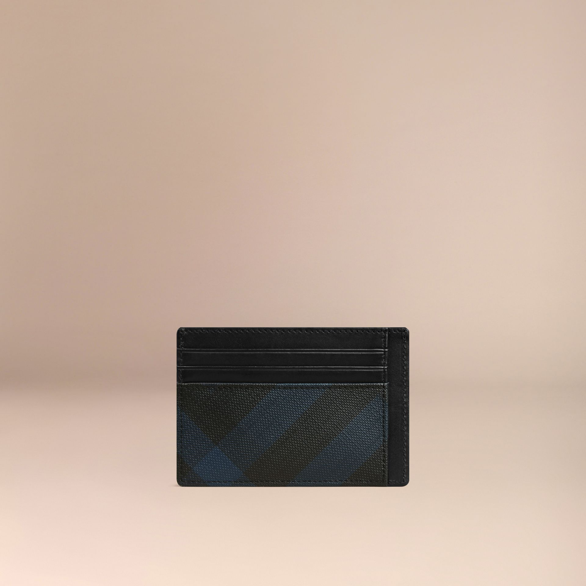 London Check Card Case Navy/black - gallery image 3