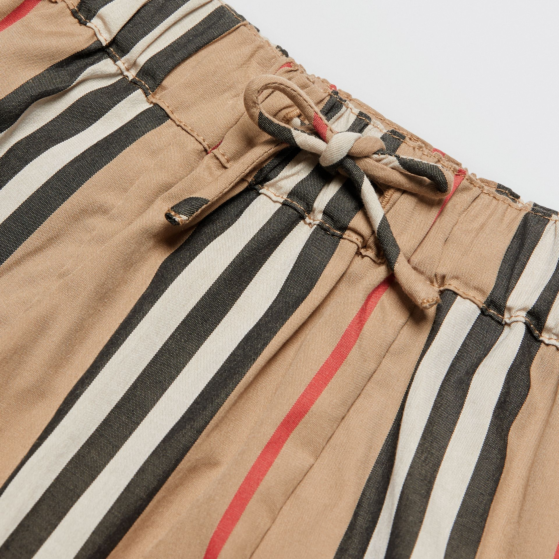 Icon Stripe Cotton Poplin Trousers in Archive Beige - Children | Burberry - gallery image 1
