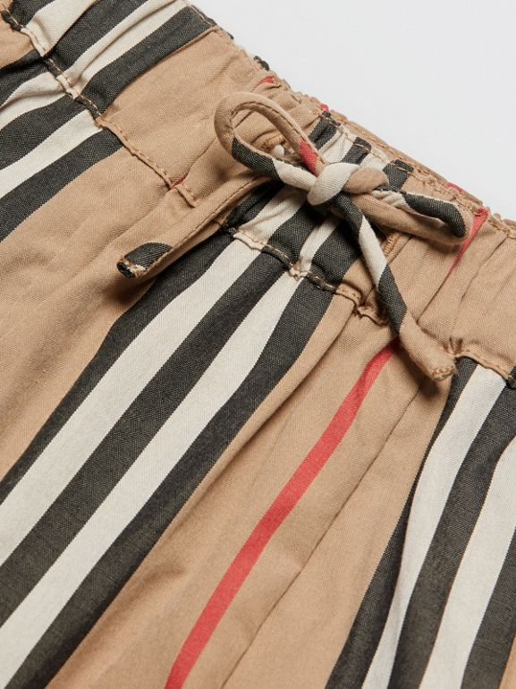 Icon Stripe Cotton Poplin Trousers in Archive Beige - Children | Burberry United States - cell image 1