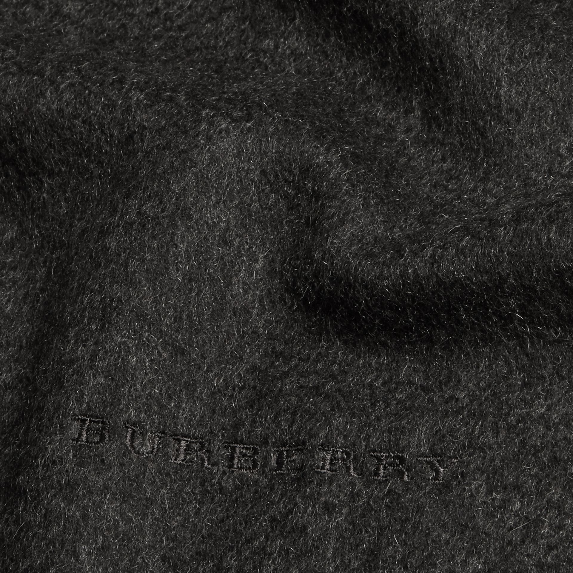The Mini Classic Cashmere Scarf in Charcoal | Burberry - gallery image 4