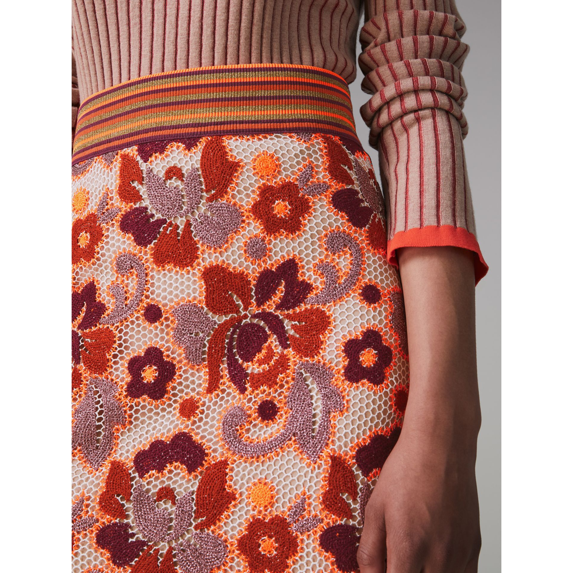 Floral Crochet Fitted Skirt in Bright Orange - Women | Burberry - gallery image 1