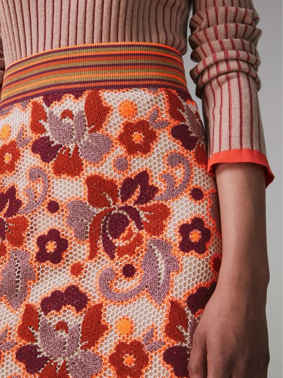 Floral Crochet Fitted Skirt in Bright Orange - Women | Burberry - cell image 1