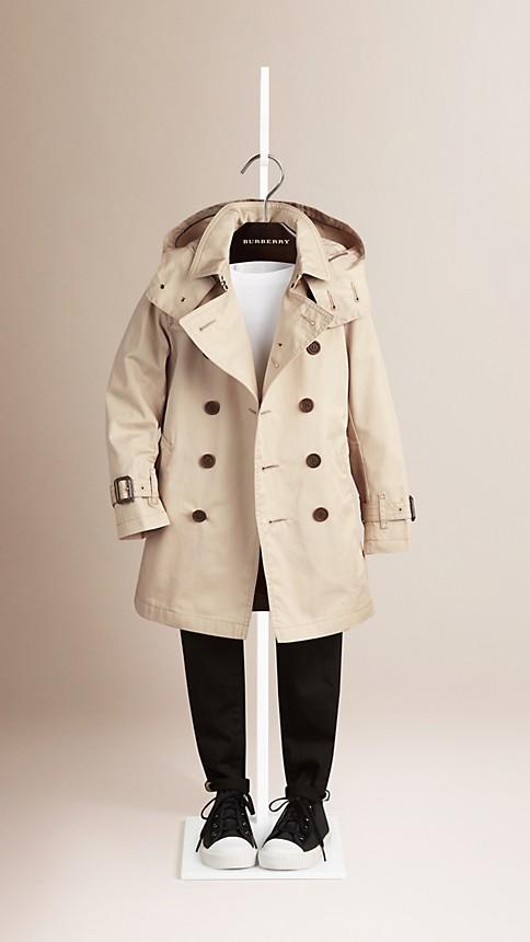 Trench Trench-coat à capuche en sergé de coton - Image 2
