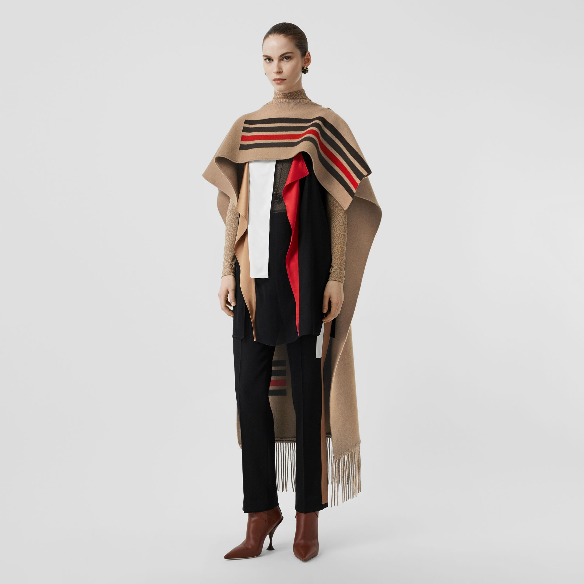 Striped Wool Cashmere Blend Cape in Camel - Women | Burberry - gallery image 4