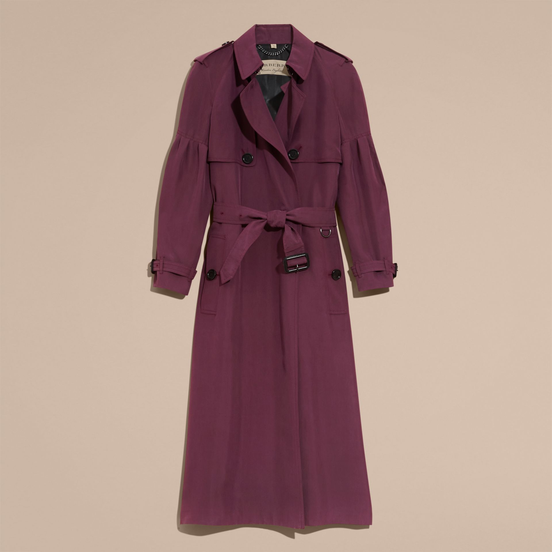 Oversize Silk Trench Coat with Puff Sleeves in Burgundy - Women | Burberry - gallery image 3