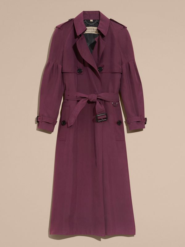 Oversize Silk Trench Coat with Puff Sleeves in Burgundy - Women | Burberry - cell image 3