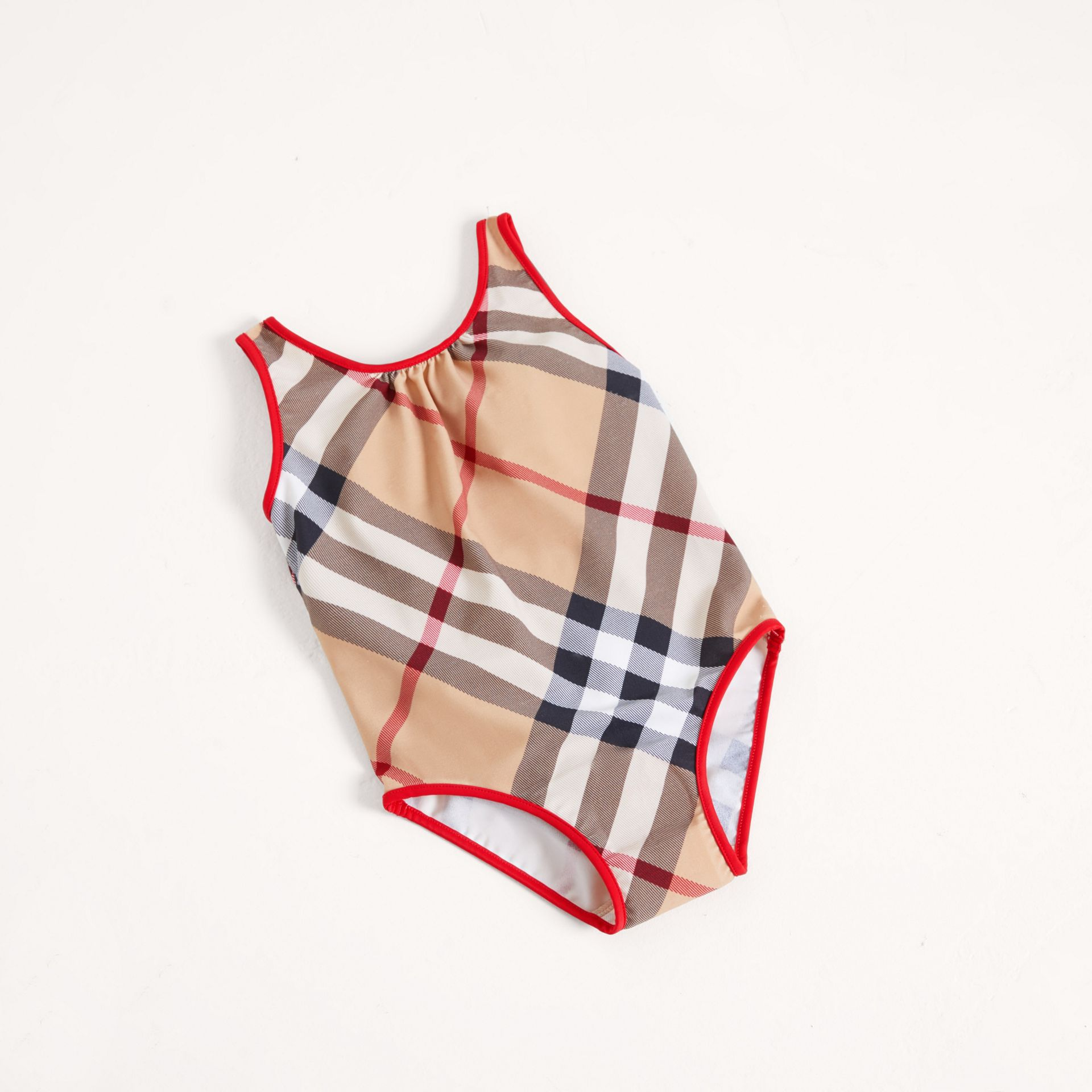 One-piece Check Swimsuit in New Classic - Girl | Burberry United Kingdom - gallery image 0