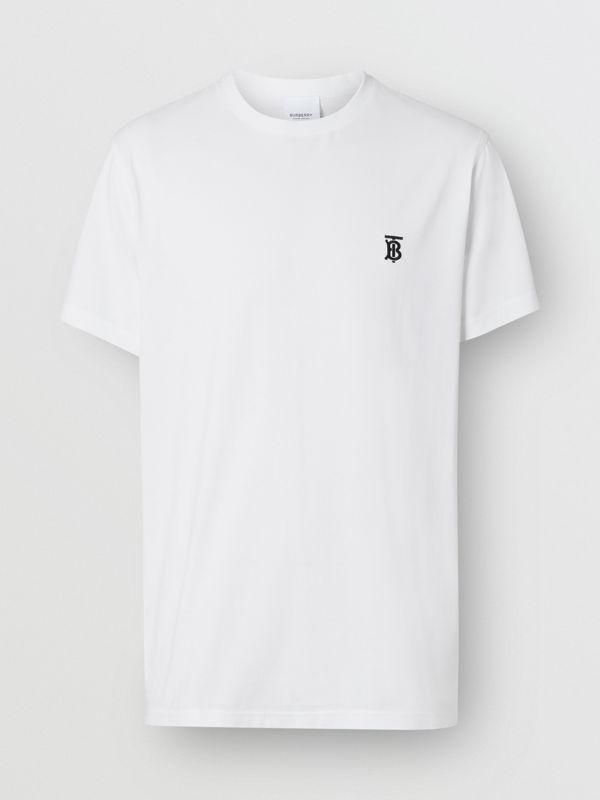 Monogram Motif Cotton T-shirt in White - Men | Burberry Canada - cell image 3