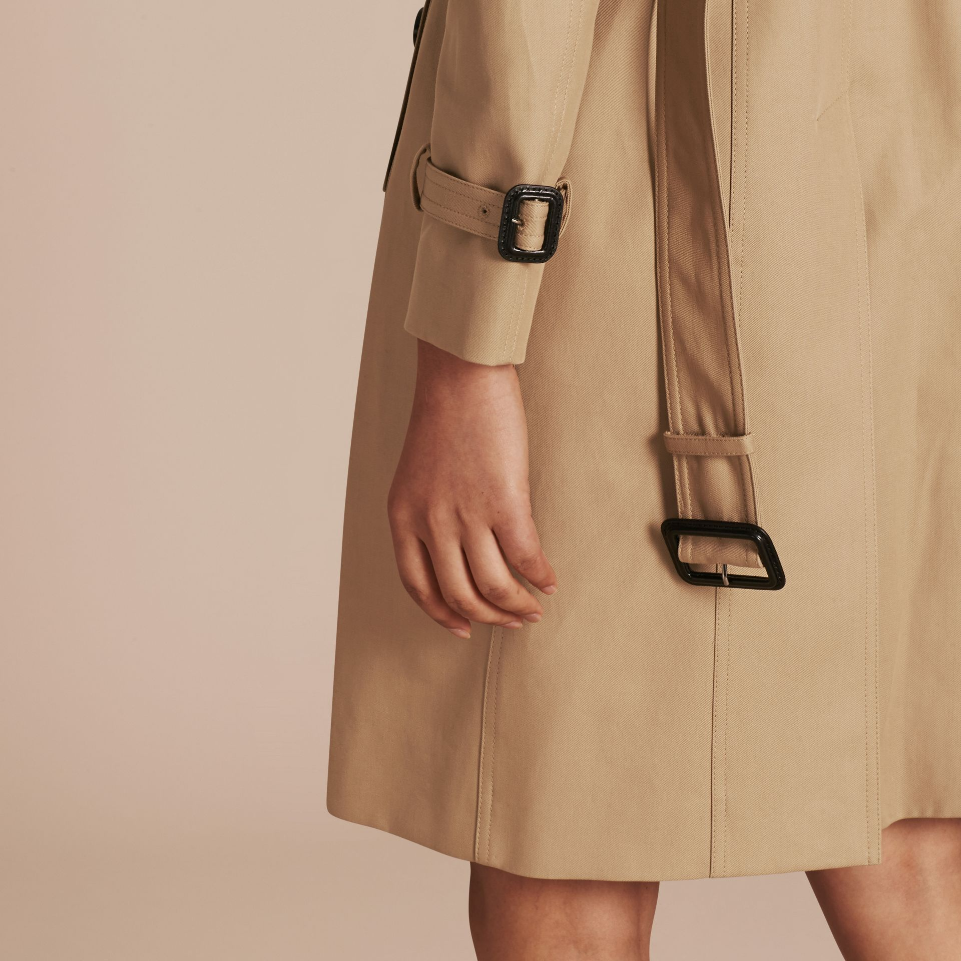 Honey Cotton Gabardine Trench Coat Honey - gallery image 6