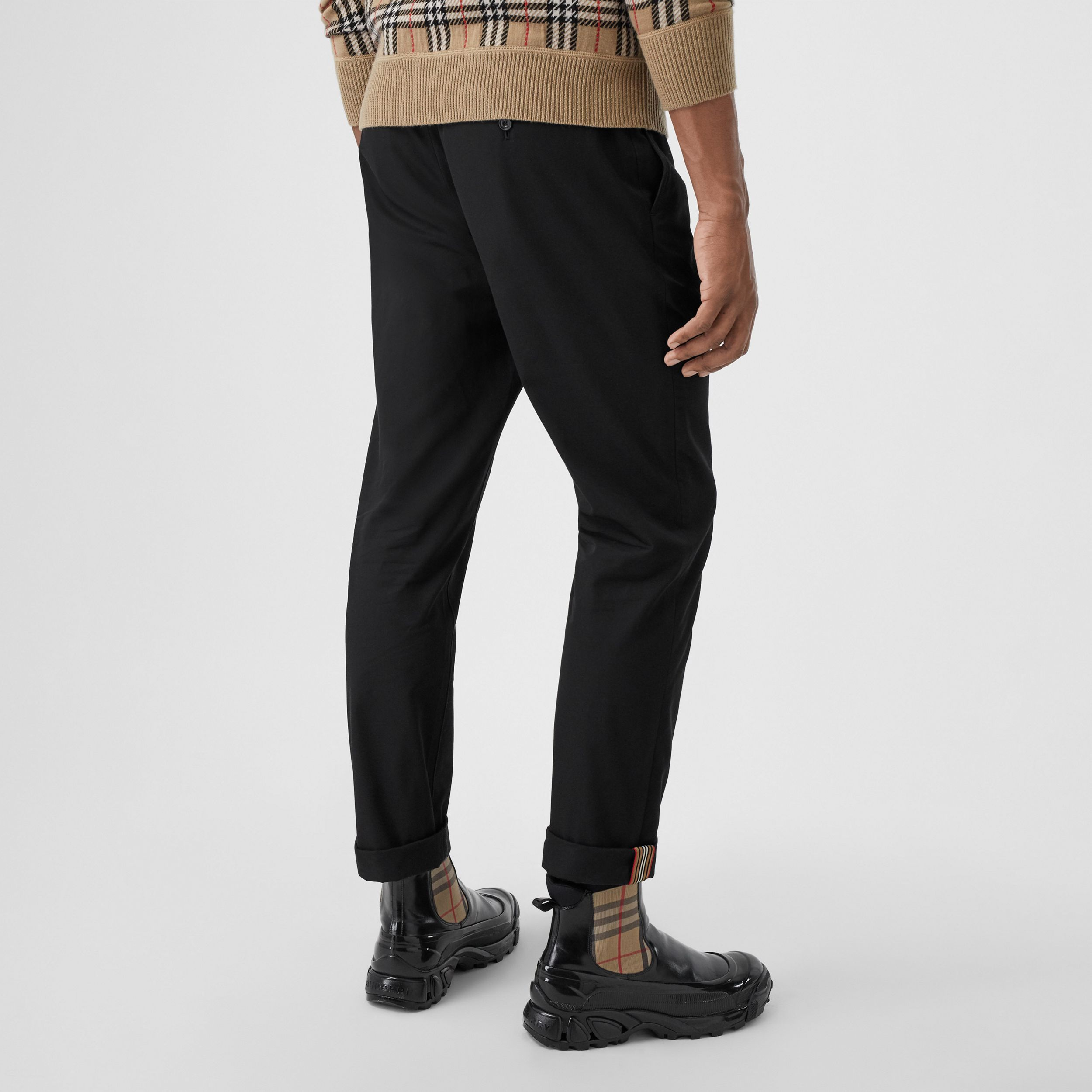 Slim Fit Cotton Chinos in Black - Men | Burberry - 3