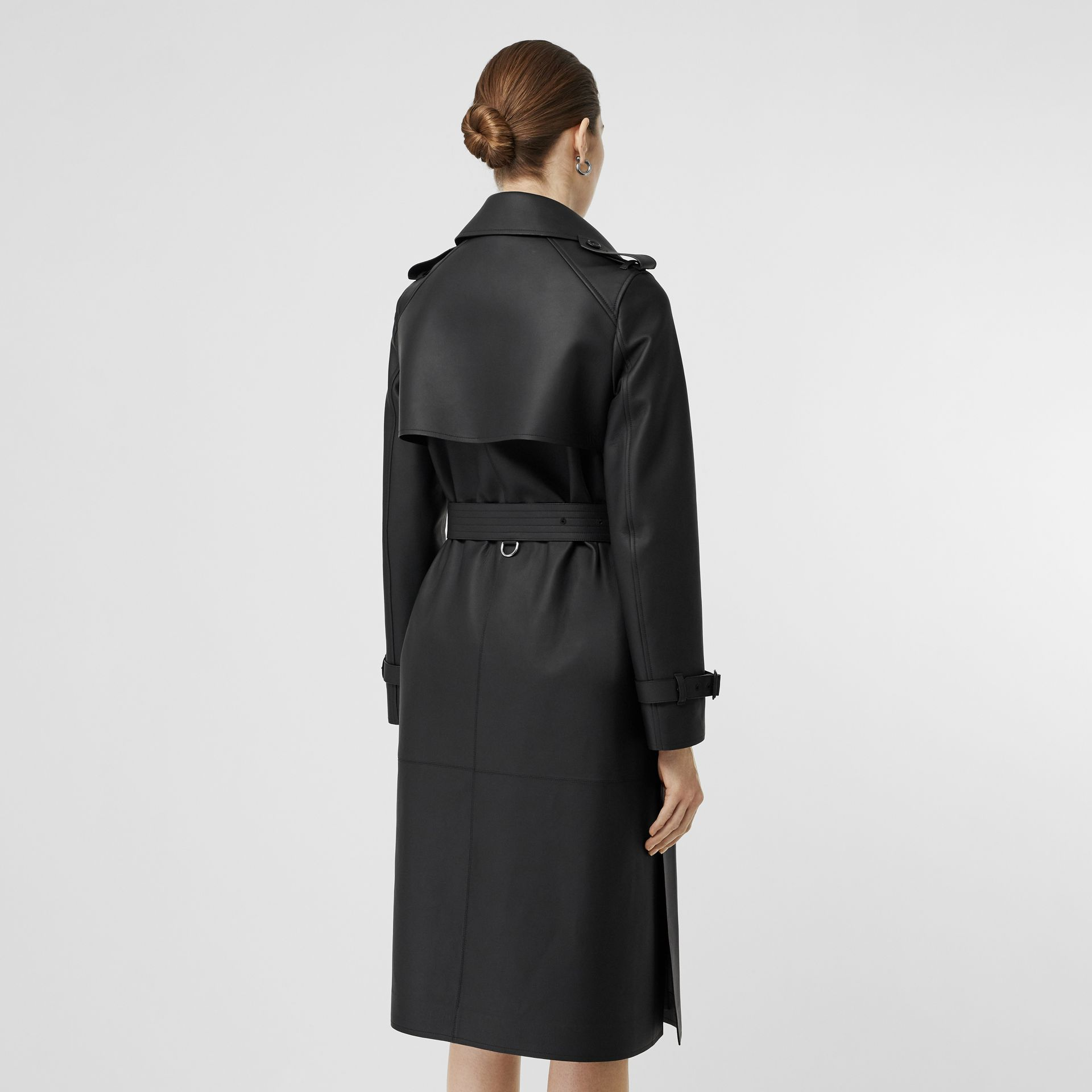 Lambskin Wrap Trench Coat in Black - Women | Burberry - gallery image 2