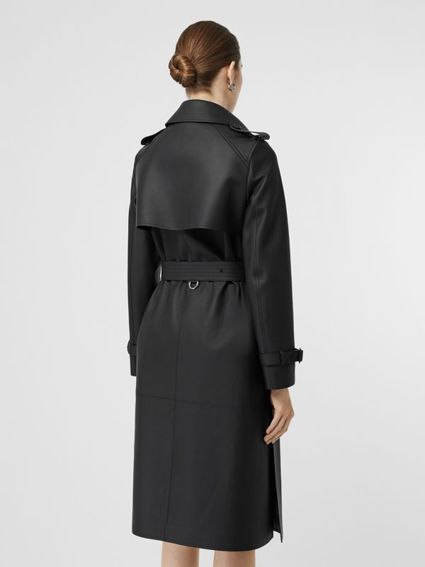 Lambskin Wrap Trench Coat in Black - Women | Burberry United Kingdom - cell image 2