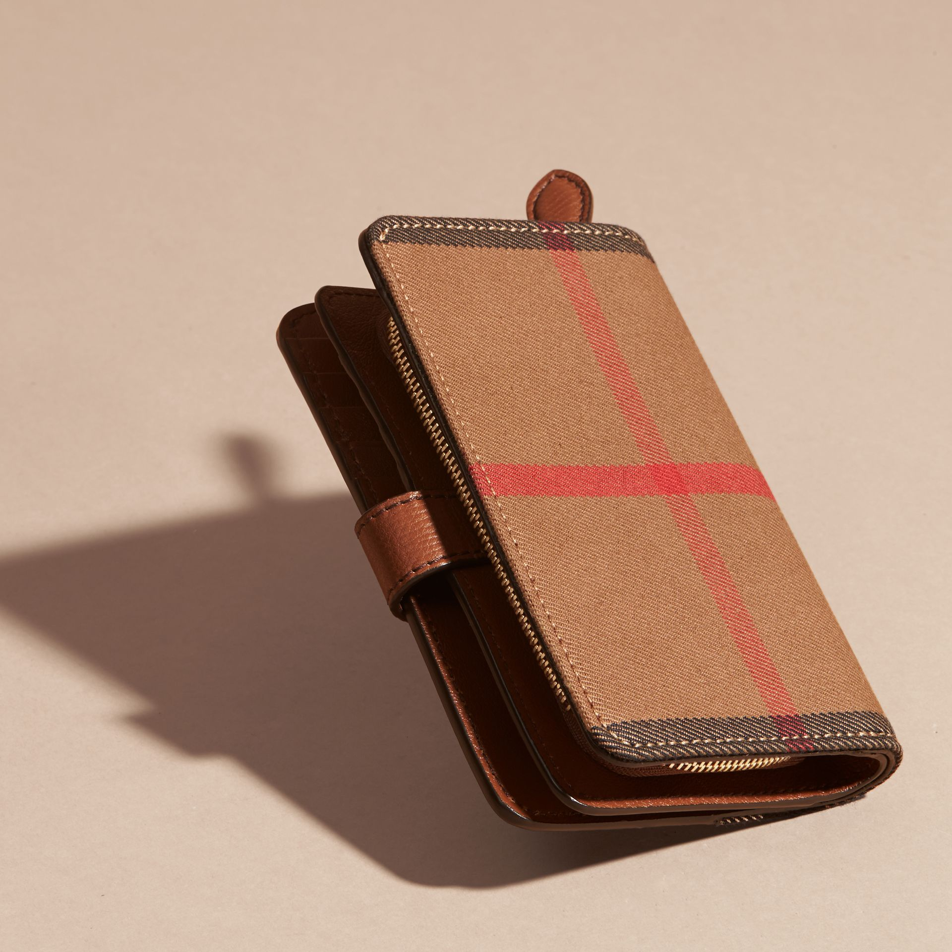 Tan House Check and Leather Wallet Tan - gallery image 3