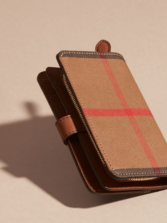 Tan House Check and Leather Wallet Tan - cell image 2